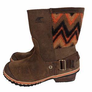 Sorel Slimshortie Madder Bonfire Leather Boots
